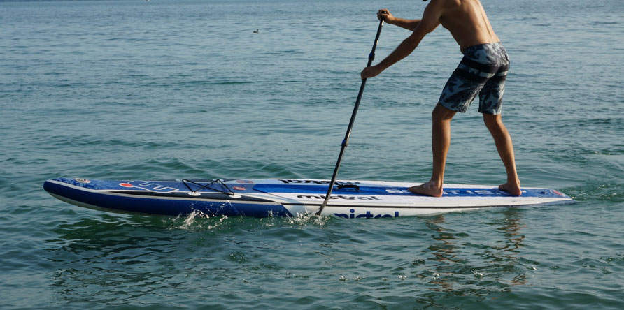 Mistral Spirit paddle board on water in action